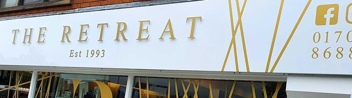 The Retreat Beauty Salon External Signage in Rochdale