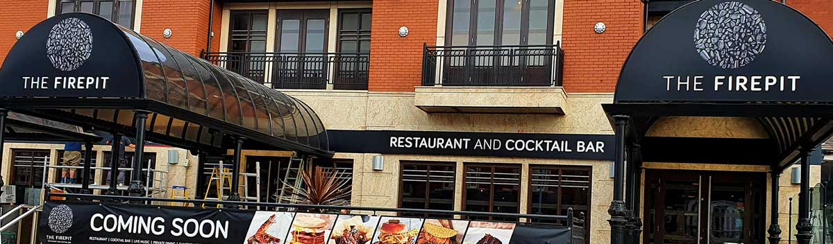 Custom built LED illuminated signage in St Annes - The Firepit